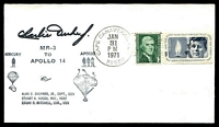 Lot 4538:1971 Cape Canaveral cover with MR -3 to Apollo 14 cachet signed by Astronaut Charlie Duke.