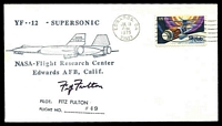 Lot 26369:1975 NASA Flight Research Center cover with cachet signed by Astronaut Fitz Fulton with covering signed note inside.