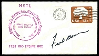 Lot 4280:1977 George C Marshall Space Flight Centre cover signed by Astronaut Frank Borman.