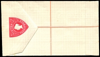 Lot 1868:1893 QV Embossed Stieg #C8 3d rose-red on horizontal laid paper.