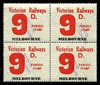 Lot 2194:1958-66 Eleventh Series 9d red issued for Melbourne block of 4, fine used.