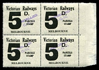Lot 2192:1958-66 Eleventh Series 5d black issued for Melbourne marginal block of 4 fine used.