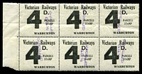 Lot 2190:1958-66 Eleventh Series 4d black issued for Warburton marginal block of 6 fine used.