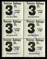 Lot 2189:1958-66 Eleventh Series 3d black issued for Melbourne block of 6 fine used.