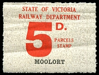 Lot 1842:1941-53 Ninth Series - Second Issue 5d red issued for Moolort Rated Scarce.