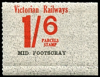 Lot 1652:1953-68 Tenth Series 1/6d red on white issued for Mid Footscray.