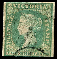 Lot 2353:1854-55 Imperf Calvert Woodblocks SG #35 2/- dull bluish green, three margins close to large.