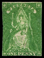 Lot 1949:1856 Imperf Queen-On-Throne Wmk Large Star SG #40 1d yellow green, MNG.