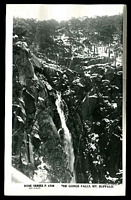 Lot 16571:Mount Buffalo Chalet: - black & white PPC 'The Gorge Falls Mt Buffalo', real photo, unused.  Renamed from Mount Buffalo RO 22/8/1910; PO 1/2/1914; closed 24/6/1986.