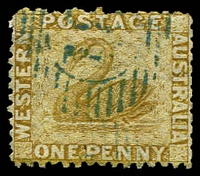 Lot 3500:1864-79 Wmk Crown/CC Perf 12½ SG #53 1d yellow-ochre.