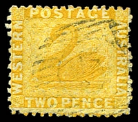 Lot 3348:1864-79 Wmk Crown/CC Perf 12½ SG #55 2d yellow.