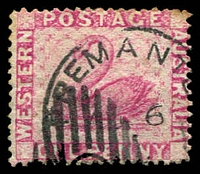 Lot 3505:1888 Recess Wmk Crown/CA (Sideways) Perf 14 SG #103 1d carmine pink.