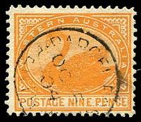 Lot 3506:1902-12 Wmk V/Crown Perf 12½ or 12½x12 SG #122 9d yellow-orange.