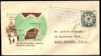 Lot 3656:1954 Illustrated cover with Australian 3½d tied by Macquarie Island cds 28 DE 54 with Macquarie Island cachet at left.