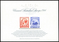 Lot 922:1984 Stamp Replica Card No 1: 1914 Unissued designs for 2d KGV and 1/- Swan.