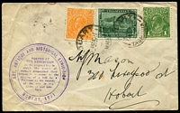Lot 568:1931 Hobart Art, Antique and Historical Exhibition cover with KGV 1d & ½d together with Tasmania ½d Pictorial tied by Hobart cds 31AU31, with fine Exhibition cachet in purple at left.