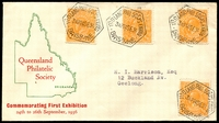 Lot 570:1936 Queensland Philatelic Society First Exhibition illustrated cover with adhesives tied by fine strikes of Exhibition cancel 24SE36, nice cover.