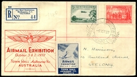 Lot 571 [1 of 2]:1937 Air Mail Exhibition illustrated Registered cover with adhesives tied by Exhibition cancel with Exhibition Registration label at left and Exhibition Cinderella label at base, nice cover.