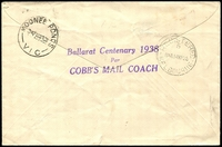 Lot 944 [2 of 2]:1938 Ballarat Centenary Coach Mail illustrated Registered cover carried on Cobb's Mail Coach for Ballarat Centenary with adhesives tied by Ballarat cds 12 MY 38.
