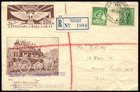 Lot 944 [1 of 2]:1938 Ballarat Centenary Coach Mail illustrated Registered cover carried on Cobb's Mail Coach for Ballarat Centenary with adhesives tied by Ballarat cds 12 MY 38.