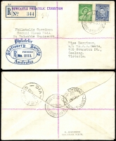 Lot 798:1938 Newcastle Philatelic Exhibition illustrated cover with KGVI 3d Die Ia & 1d QM Die I tied by Exhibition cds 18FE 38 with Exhibition Registration label at left, nice cover.