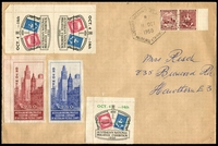 Lot 755:1950 Australian National Philatelic Exhibition large cover with 2½d se tenant Stamp Centenary pair tied by Exhibition cancel 11OCT 1950 with On To Melbourne brown and blue Exhibition labels at left together tête-bêche stamp labels with Exhibition date overprint in black and single with overprint in greenplus two tete beche pairs affixed to reverse, nice cover.