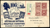 Lot 565 [1 of 2]:1950 Australian National Philatelic Exhibition illustrated Registered cover with adhesives tied by Exhibition cancel 4 OC50 with Exhibition Registration label at left.