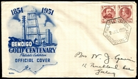 Lot 566:1951 Bendigo Gold Centenary Philatelic Exhibition illustrated cover with adhesives tied by Exhibition cancel 2 JUL 1951.