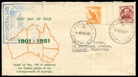 Lot 567:1951 South Australian Jubilee Philatelic Exhibition illustrated cover with adhesives tied by Adelaide cds 23AU51 and cachet in blue at left.