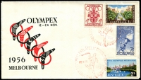 Lot 946:1956 Olympex illustrated cover with Olympics set tied by Exhibition opening day special cancel 12 NOV1956 in red, unaddressed.