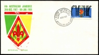 Lot 4646:1967 8th Australian Jamoree Jindalee illustrated cover with adhesive tied by fine Eighth Australian Scout Jamboree Jindalee Qld 28DE67, unaddressed.