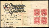 Lot 750 [1 of 2]:5th Australian Philatelic Exhibition illustrated Registered Exhibition cover with 1½d Sturt Plate 4 block tied by Exhibtion cancel 1 AP 32 with Exhibition Registration label at lower left scarce plate number, nice cover.