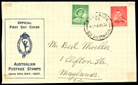Lot 4249:APO 1937 QM & KGVI Die 1 on illustrated FDC tied by Adelaide cds 10MY37.