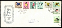 Lot 714:APO 1966 Birds set tied to Aust Post FDC by Clarence St Sydney cds 14FEB66, neat typed address.