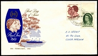 Lot 698:Australian Cover Collectors' Association 1963 Royal Visit set tied to illustrated FDC by Edinburgh Airfield cds 18FE63.