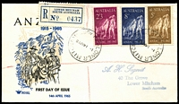Lot 704:Royal 1965 Anzac set tied to Registered illustrated FDC by Lower Mitcham cds 14AP65.