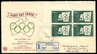 Lot 730 [1 of 2]:WCS 1955 2/- Green Olmpic Games Publicity corner block of 4 tied to Registered illustrated FDC by Adelaide cds 30 NO55.
