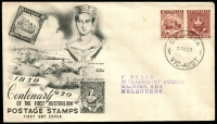 Lot 794:Wide World 1950 Stamp Centenary 2½d pair tied to illustrated FDC by St Kilda cds 27 SE 50.