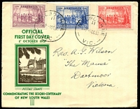 Lot 4217:1937 NSW Sesqui set tied to illustrated Official FDC by Melbourne cds 1 OC 37.