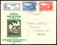 Lot 481 [1 of 2]:1937 NSW Sesqui 2d and 3d NSW tied to Registered Official FDC by Telegraph Office Geelong cds 1 OC 37.