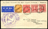 Lot 861 [1 of 2]:1931 Melbourne - Hobart AAMC #198 cover with adhesives cancelled Perth 27AP31 carried on first flight with cachet in purple at left and backstamped Hobart 4 MAY 31.