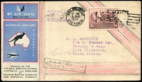 Lot 618:1934 Australia - England AAMC #470a illustrated card to South Africa with adhesive tied by Melbourne machine cancel 8DEC 1934 intermediate cover.