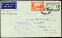 Lot 615 [1 of 2]:1934 Papua - Australia AAMC #395a cover to Adelaide with adhesives tied by Cairns cds 30JL 34 and back stamped Sydney 1 AU 34 with Delivery Window Adelaide Oval postmark 3 AUG1934 on face. nice intermediate cover.