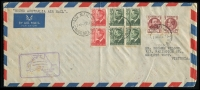 Lot 878 [1 of 2]:1951 Around Australia Canberra - Canberra long cover with adhesives tied by Canberra cds 7DE51 with special cachet in violet at left and backstamped with all the nation's capital cities, AAMC #1286.