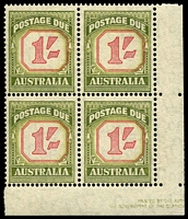 Lot 3860:1953-59 New Value Plates For Shilling Values BW #D139A 1/- carmine & yellow-green marginal block of 4 with shift in value tablet and part Authority Imprint, nice block.