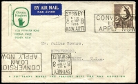 Lot 5335:1956 Airmail cover to USA with 2/- Abo Art tied to cover by Sydney machine cancel 12SEP1956 with Green Fingers Mona Vale illustration at top left.