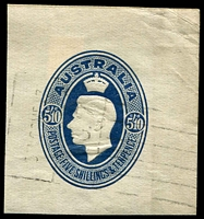 Lot 3913:1946 Parcel Label BW #PL4 5/10d blue KGVI cut out, fine used in 1947.