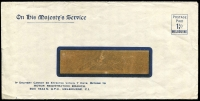 Lot 670:1930's OHMS: long window faced envelope with 1½d Postage Paid Melbourne issued for Motor Registration Branch Melbourne.