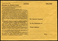 Lot 619:OHMS: OHMS Post Free envelope for Electoral Claim for W.A.