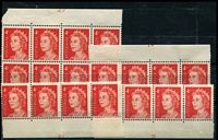 Lot 2442:1966-73 4c QEII Helecon Paper Group comprising strip of 4 (2*) from base of sheet with Plate No 21, strip of 4 from top of sheet with Plate No 24, strip of 4 (2*) from base of sheet with Plate No 27 and block of 8 (1*) from top of sheet with Plate No 27.